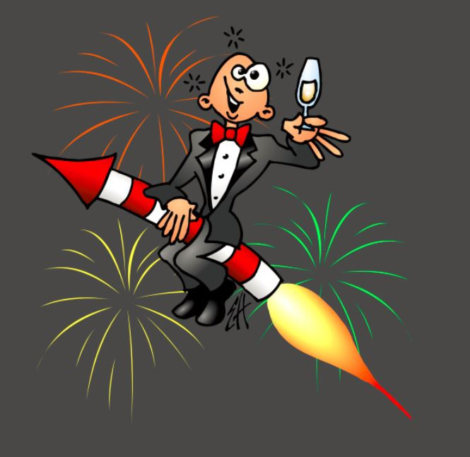 Happy New Year Guy Riding Fire Cracker T Shirt