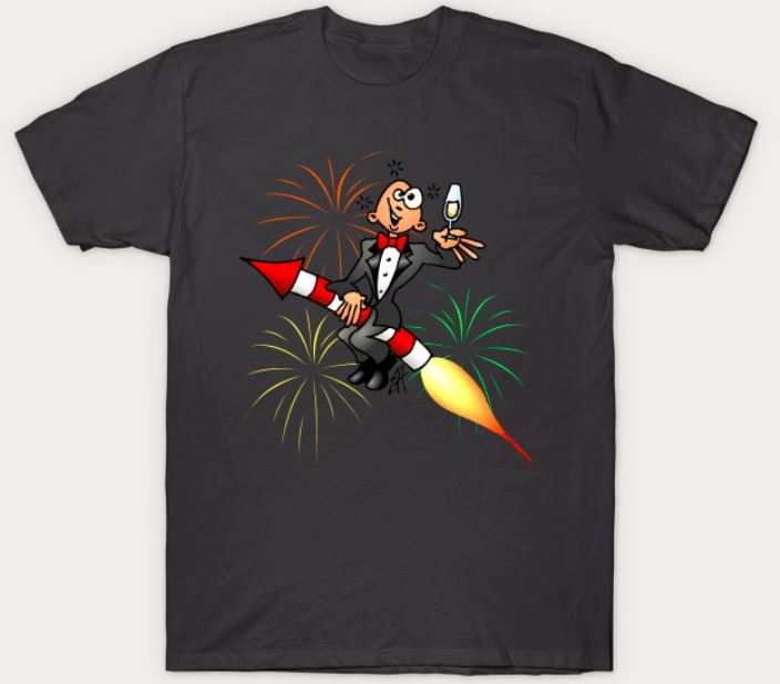 Happy New Year Guy Riding Fire Cracker T-Shirt