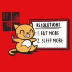 Mew Year Resolutions T Shirt: Kitty Writes Important Thoughts on White Board