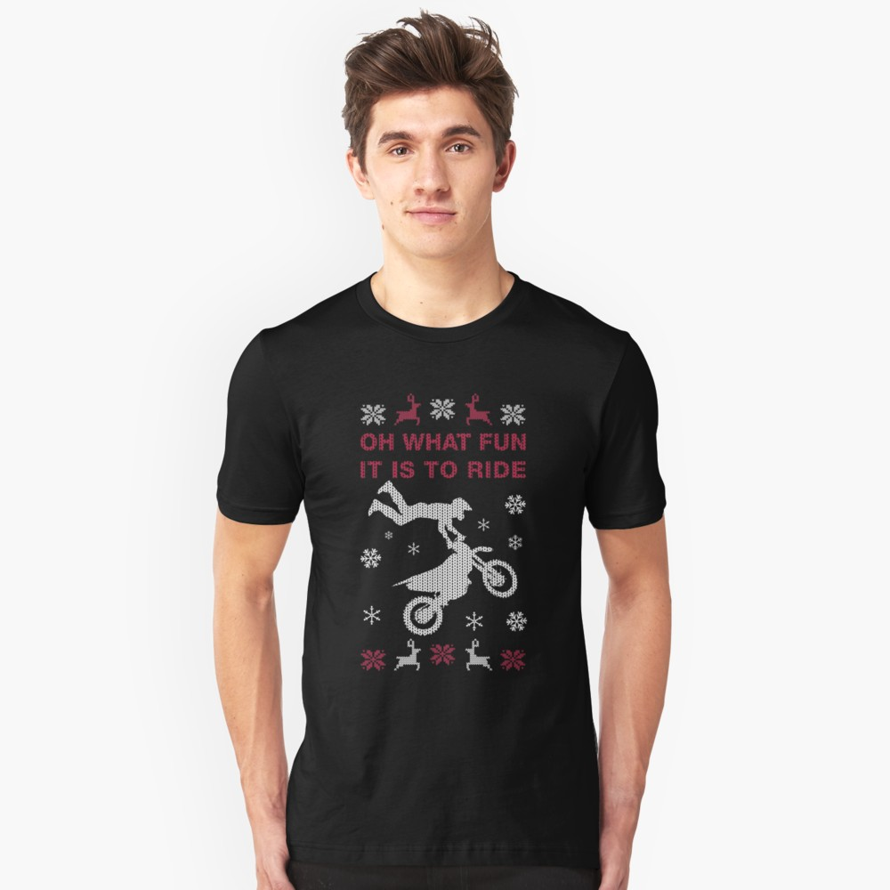 Oh What Fun It Is To Ride Motorcycle Jumps T Shirt (Ugly Xmas Sweater)