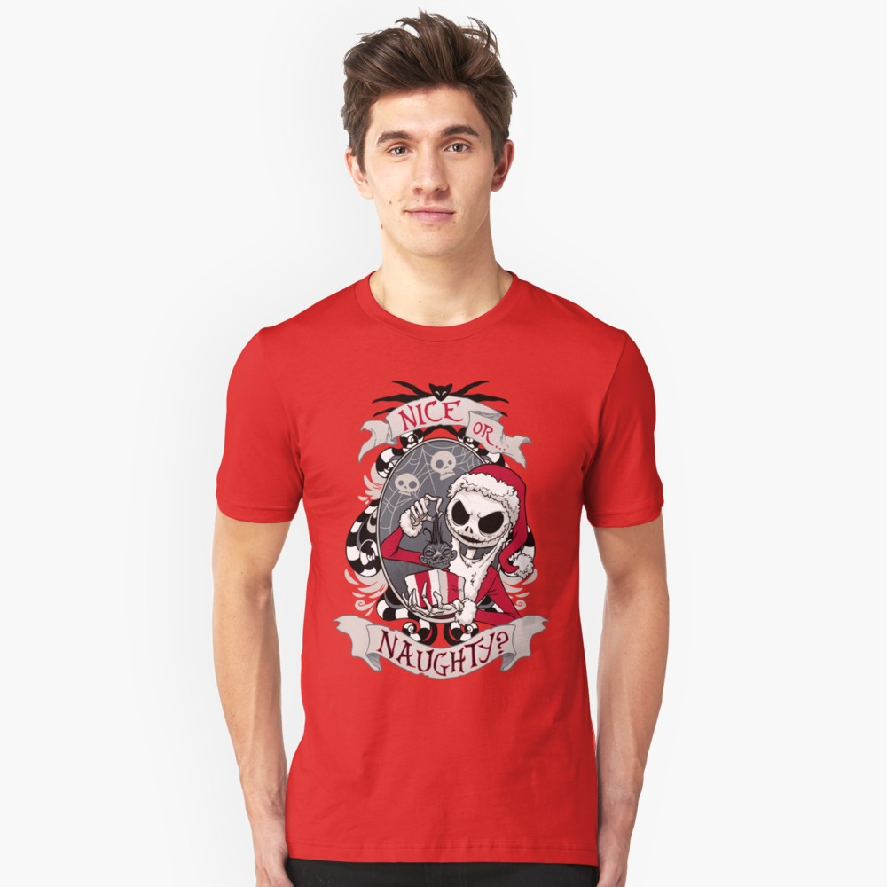 Nice or Naughty Scary Santa T Shirt