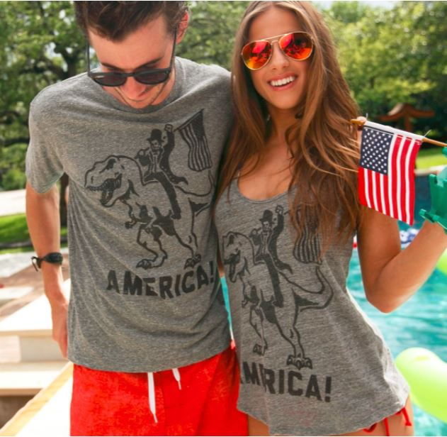 America Abe Lincoln Riding a T-Rex T Shirt