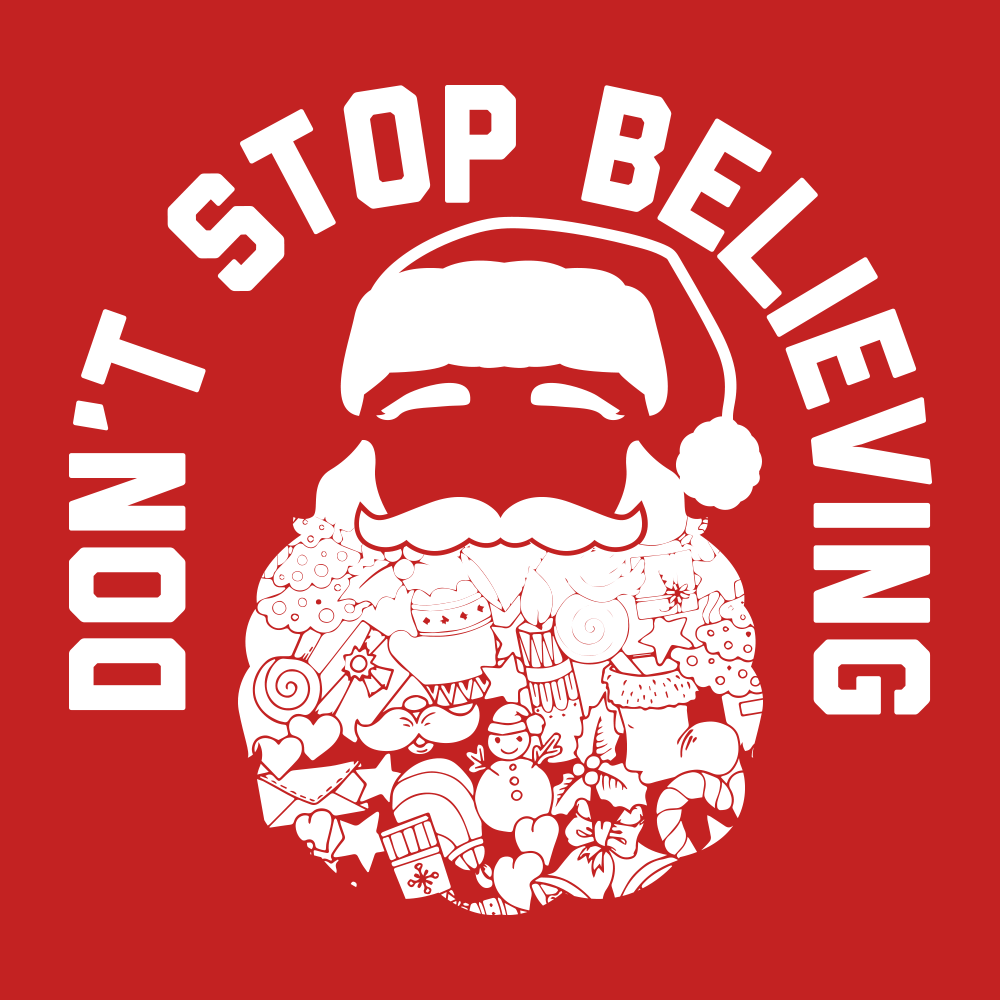 Don't Stop Believing Santa T-shirt