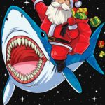 Santa Riding a Shark T Shirt