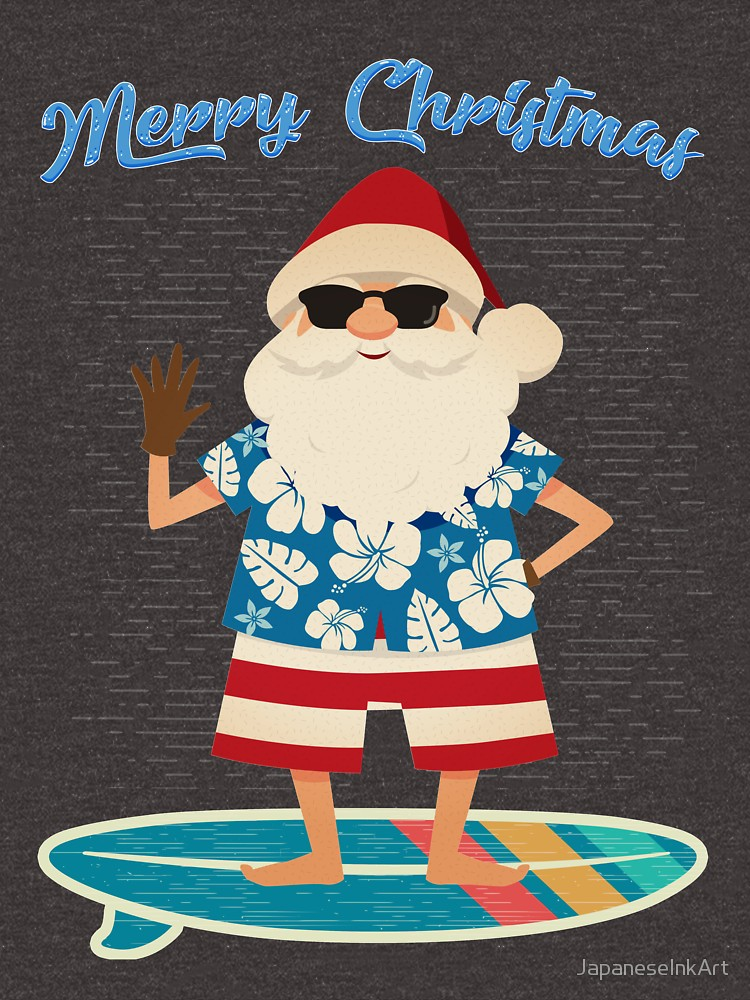 Merry Christmas Retro Santa Claus Surfing Hawaii T Shirt